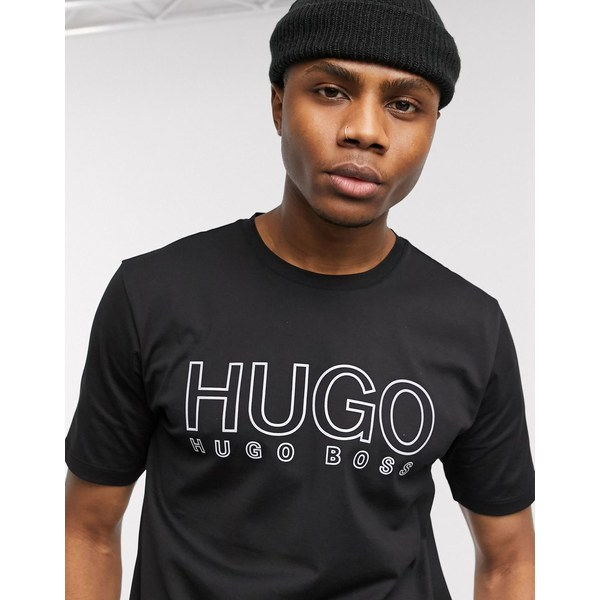 フューゴ メンズ Tシャツ トップス HUGO Dolive-U202 reflective logo t-shirt in black Black