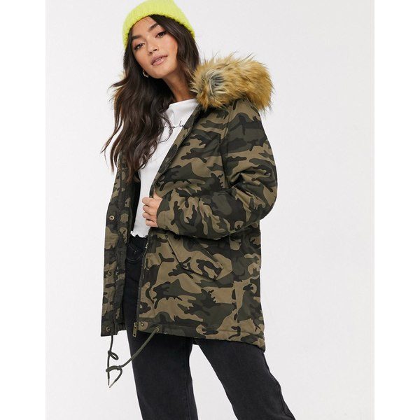 ブレーブソウル レディース コート アウター Brave Soul pather parka in camowith faux fur hood trim Green camo