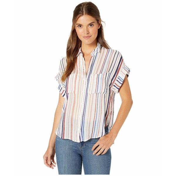 ベラダール レディース シャツ トップス Stripe Cap Sleeve Two-Pocket Button Down Shirt Watercolor