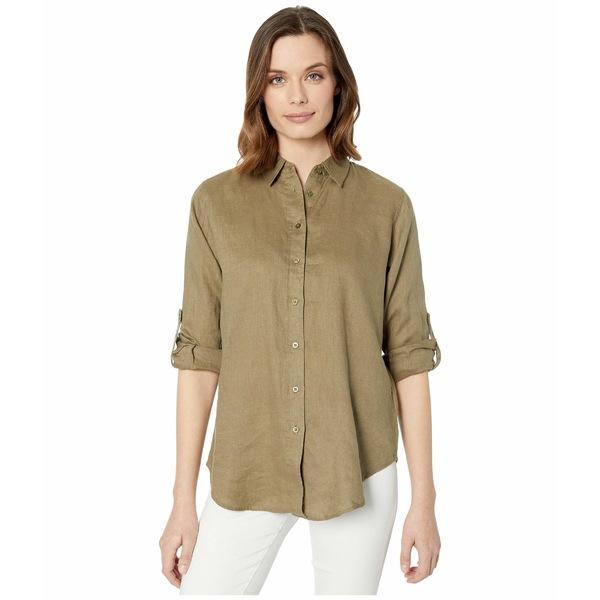ラルフローレン レディース シャツ トップス Roll-Tab-Sleeve Linen Shirt Dry Olive