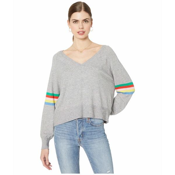 カップケーキアンドカシミア レディース ニット&セーター アウター Hazel V-Neck Raglan w/ Rainbow Stripe Detail Light Heather Grey