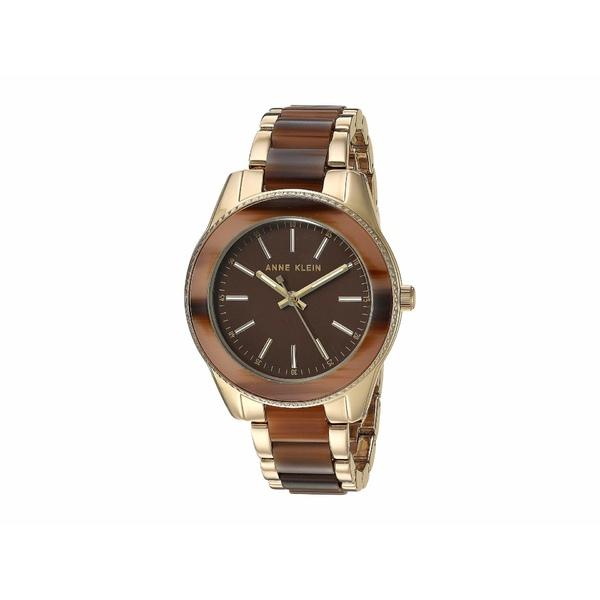 アンクライン レディース 腕時計 アクセサリー Tort Resin Bracelet Watch Brown/Gold-Tone