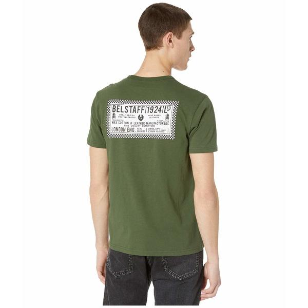 ベルスタッフ メンズ シャツ トップス Belstaff Checkered Border T-Shirt Rifle Green