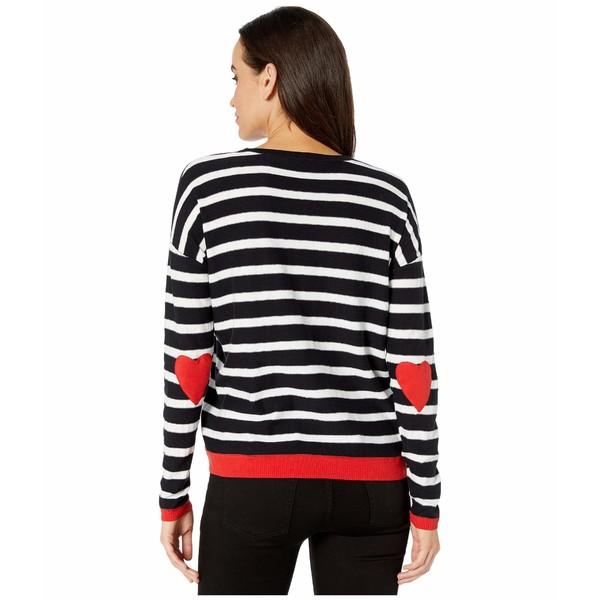 エリオットローレン レディース ニット&セーター アウター Open Heart Stripe Crew Neck Sweater with Heart Elbow Patch Black/White