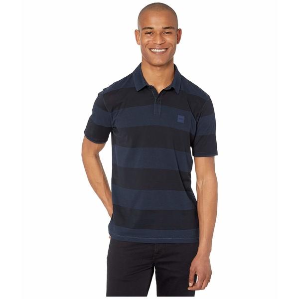 ヒューゴボス メンズ シャツ トップス Portray Block Stripe Polo Dark Blue
