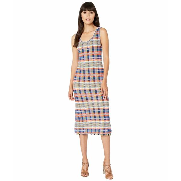 エム ミッソーニ レディース ワンピース トップス Sleeveless Midi Dress with Printed Plaid Mesh Overlay Rainbow