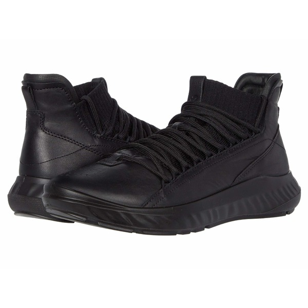 エコー レディース スニーカー シューズ ST.1 Lite Mid Cut Sneaker Black/Black Cow Leather/Textile