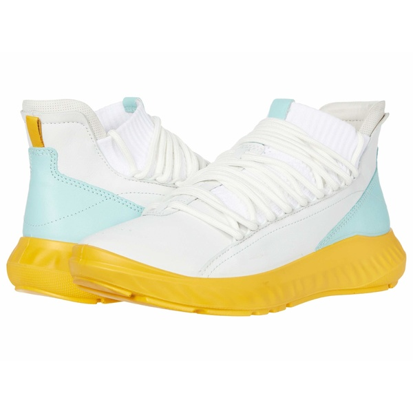 エコー レディース スニーカー シューズ ST.1 Lite Mid Cut Sneaker White/Eggshell/Bright White Cow Leather/Textile