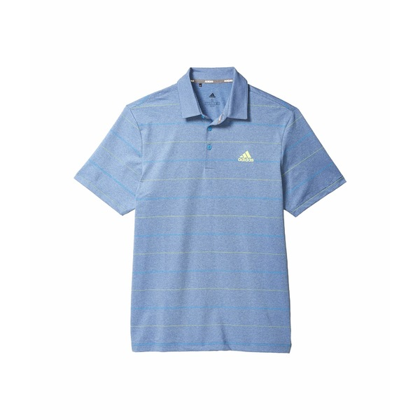 アディダス メンズ シャツ トップス Ultimate365 Heathered Stripe Polo Shirt Tracy Royal Melange/Solar Yellow/Light Blue