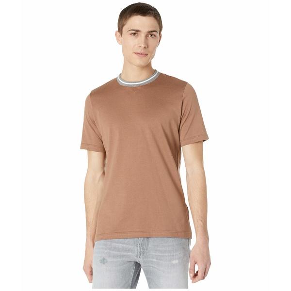 イレブンティ メンズ シャツ トップス Stripe Detail Crew Neck T-Shirt Camel
