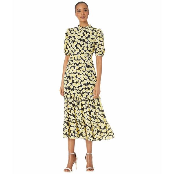 ドナモーガン レディース ワンピース トップス Short Ruffle Sleeve Georgette Dress with Tiered Skirt and Ruffle Neck Yellow/Black