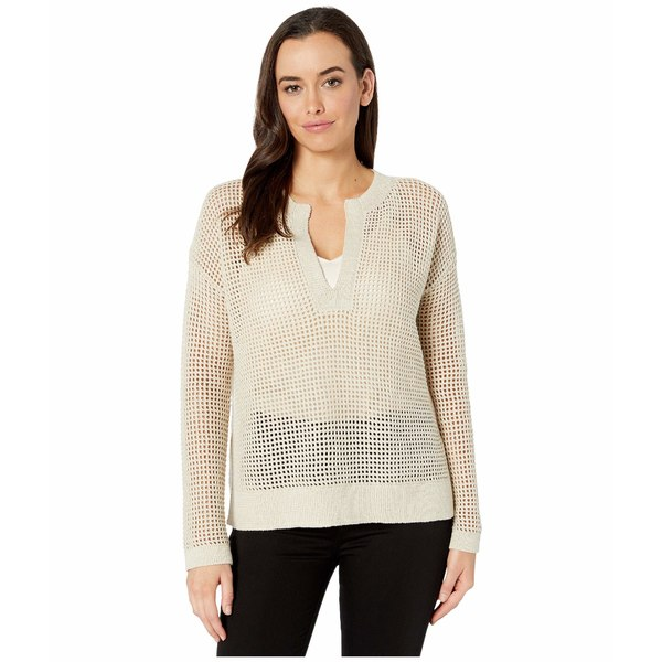 エリオットローレン レディース ニット&セーター アウター Textured Stitch Sweater with Open Neck Beige