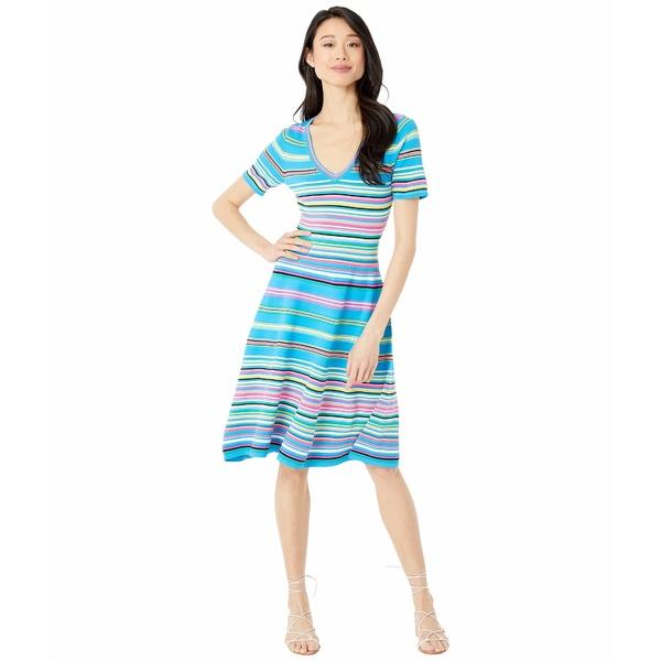 ミリー レディース ワンピース トップス Micro Stripe Flared Dress Ocean Multi
