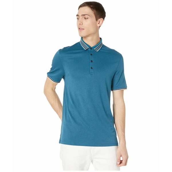 テッドベーカー メンズ シャツ トップス Teacups Short Sleeve Solid Contrast Collar Polo Teal/Blue