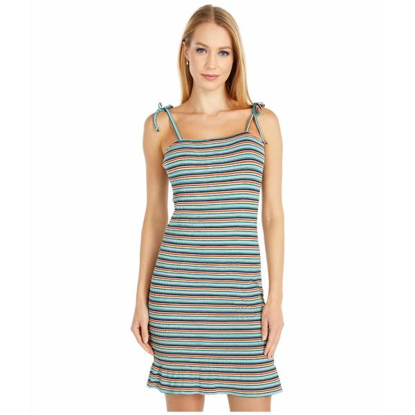 カップケーキアンドカシミア レディース ワンピース トップス Allison - Striped Rayon Rib Smocked Dress Deep Indigo