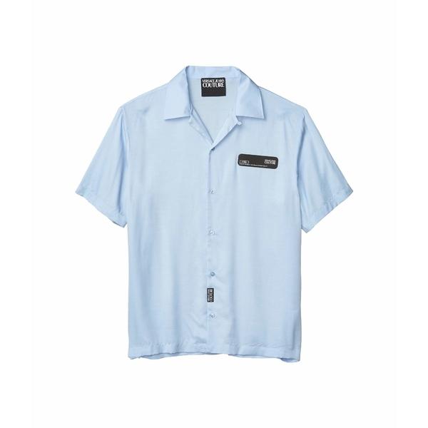 ベルサーチ メンズ シャツ トップス Viscose Shirt Rubber Logo Patch Light Blue