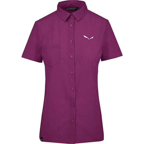 サレワ レディース シャツ トップス Salewa Women's Puez Minicheck 2 Dry SS Shirt Dark Purple