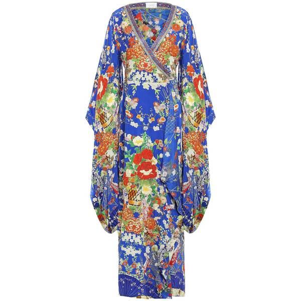 キャミラ レディース ワンピース トップス Playing Koi embellished printed silk crepe de chine kaftan Bright blue