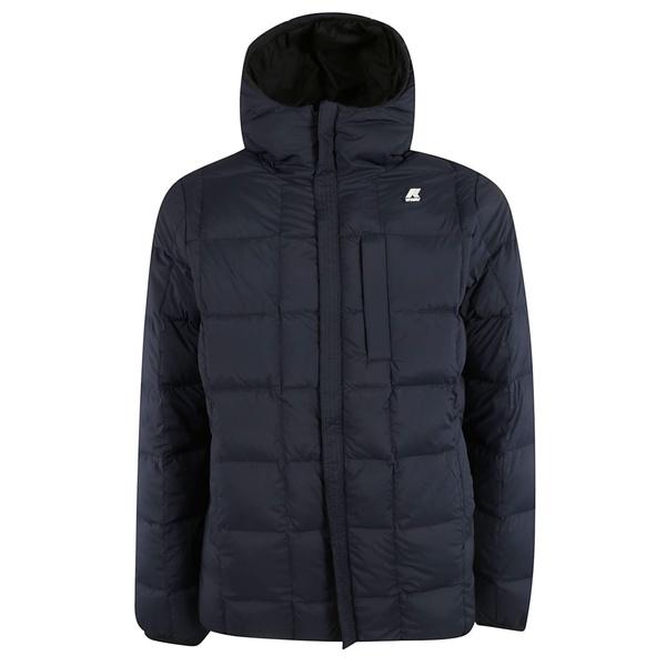 ケイウェイ メンズ ジャケット&ブルゾン アウター K-Way Logo Patch Down Jacket BlackBlue