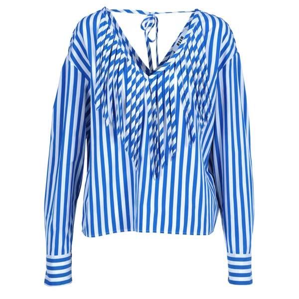 エムエスジイエム レディース シャツ トップス Msgm Msgm Striped Blouse BLUEWHITE