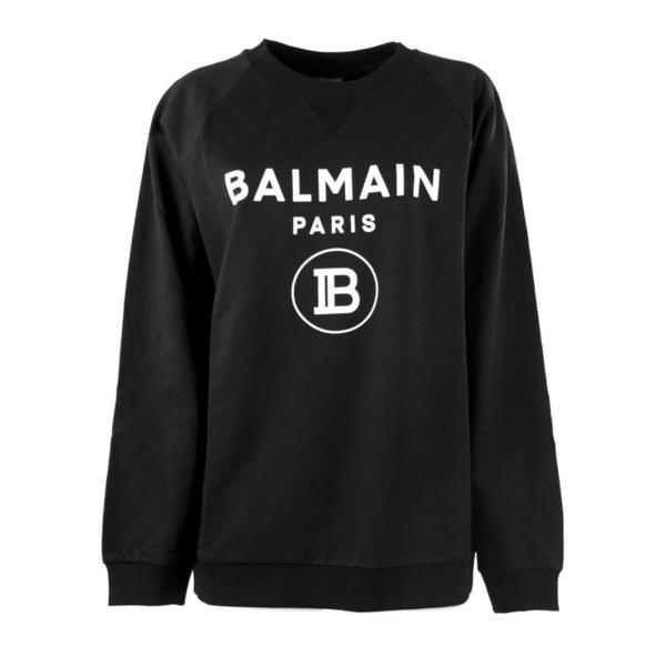 バルマン レディース パーカー・スウェットシャツ アウター Balmain Black And White Cotton Sweatshirt Nero