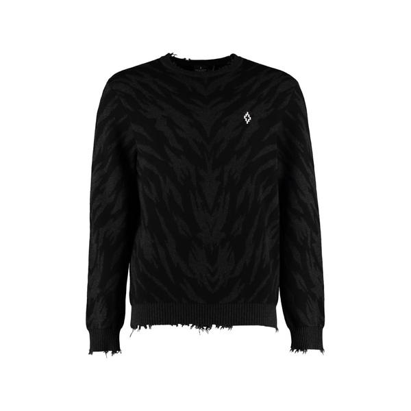 マルセロバーロン メンズ ニット&セーター アウター Marcelo Burlon Zebra Jacquard Sweater black