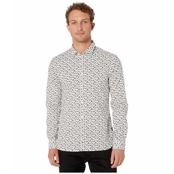 ジョンバルバトス メンズ シャツ トップス Fulton Long Sleeve Sport Shirt, Clean Front, Button Closure W671V3B Black/White