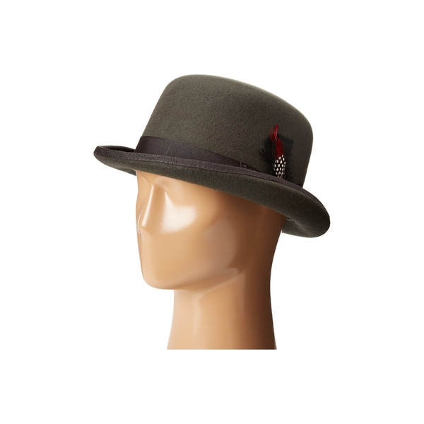 スカラ メンズ 帽子 アクセサリー Wool Felt Derby Hat with Grosgrain Trim Charcoal