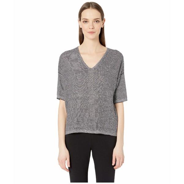 エイリーンフィッシャー レディース ニット&セーター アウター Organic Linen Knit V-Neck Elbow Sleeve Top Ivory