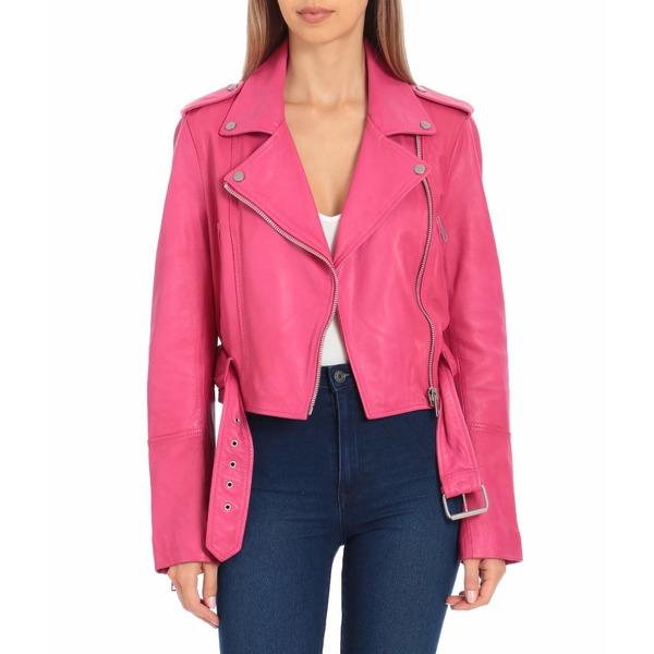 アベックレフィレ レディース コート アウター Lamb Leather Cropped Biker Hot Pink