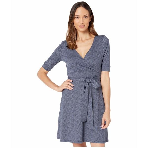 ドード アンドコー レディース ワンピース トップス Cue Wrap Cafe Dress True Navy Herringbone Print
