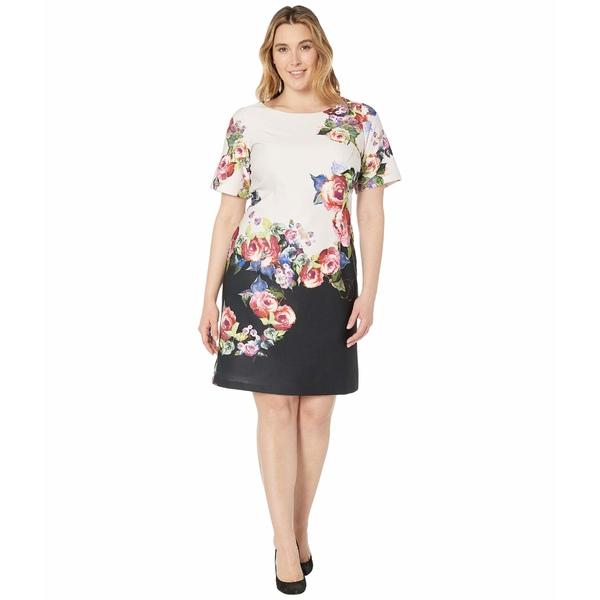 アドリアナ パペル レディース ワンピース トップス Plus Size Rose Printed A-Line Dress Black Multi