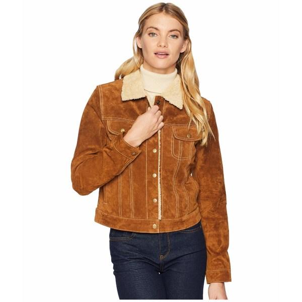 スカーリー レディース コート アウター Raewyn Sherpa Suede Ladies Fun Little Jean Jacket Cinnamon