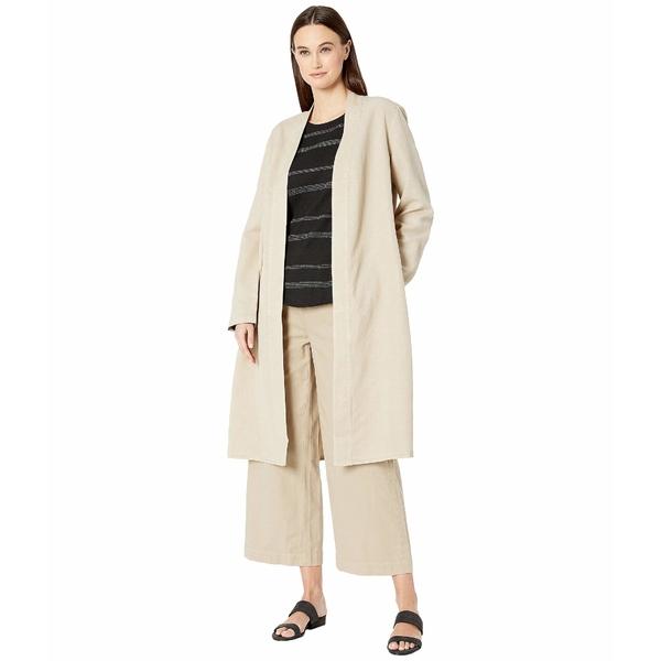 エイリーンフィッシャー レディース コート アウター Tencel Linen Kimono Long Sleeve Jacket w/ Side Slits Khaki