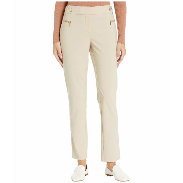 カルバンクライン レディース カジュアルパンツ ボトムス Straight Pants with Buckle and Zip Latte