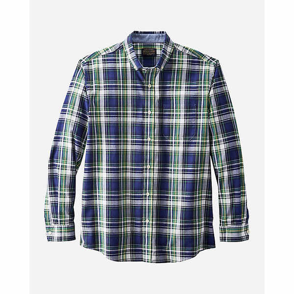 ペンドルトン メンズ シャツ トップス Pendleton Men's Madras LS Shirt Navy/Green/Blue Plaid