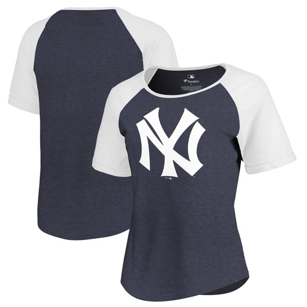 ファナティクス レディース Tシャツ トップス New York Yankees Fanatics Branded Women's Huntington Cooperstown Collection TriBlend TShirt Navy