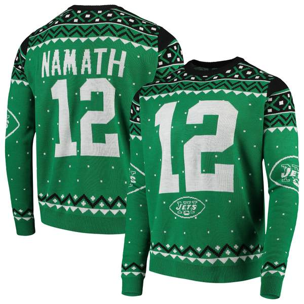 フォコ メンズ シャツ トップス Joe Namath New York Jets Retired Player Name & Number Crewneck Sweater Green