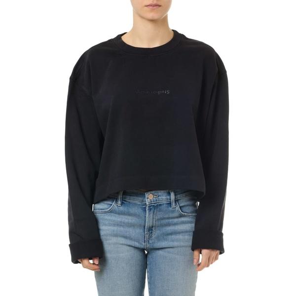アクネ ストゥディオズ レディース パーカー・スウェットシャツ アウター Acne Studios Black Cotton Logo Sweatshirt Black