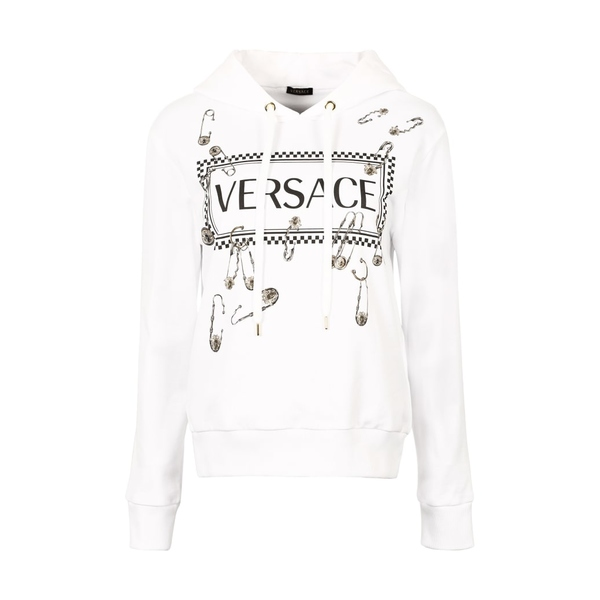 ヴェルサーチ レディース パーカー・スウェットシャツ アウター Versace Printed Cotton Hoodie White