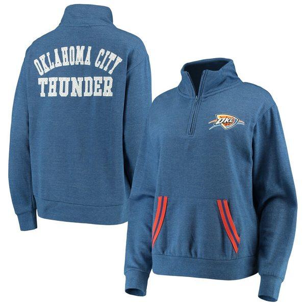 ニューエラ レディース ジャケット&ブルゾン アウター Oklahoma City Thunder New Era Women's Striped Trim Tri-Blend Half-Zip Pullover Jacket Blue