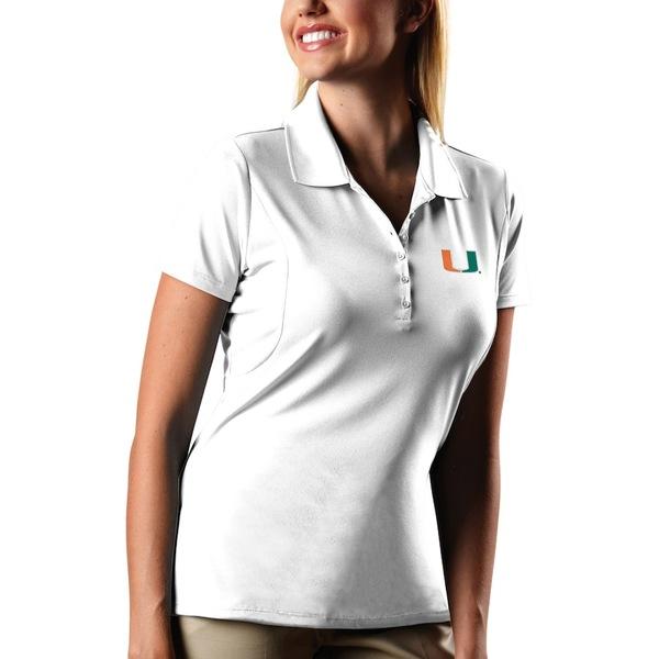 アンティグア レディース ポロシャツ トップス Miami Hurricanes Antigua Women's Pique Xtra-Lite Polo White