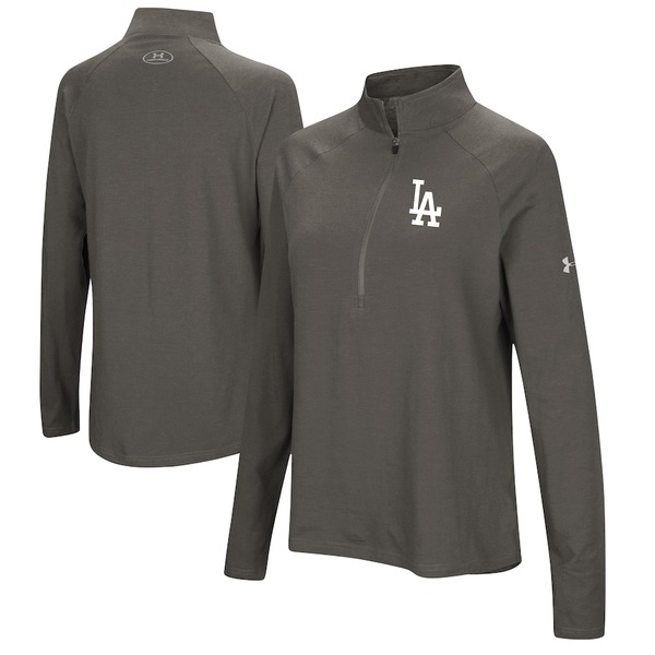 アンダーアーマー レディース ジャケット&ブルゾン アウター Los Angeles Dodgers Under Armour Women's Passion Performance Tri-Blend Raglan Half-Zip Pullover Jacket Heathered Gray