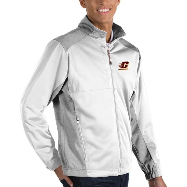アンティグア メンズ ジャケット&ブルゾン アウター Cent. Michigan Chippewas Antigua Revolve Full-Zip Jacket White