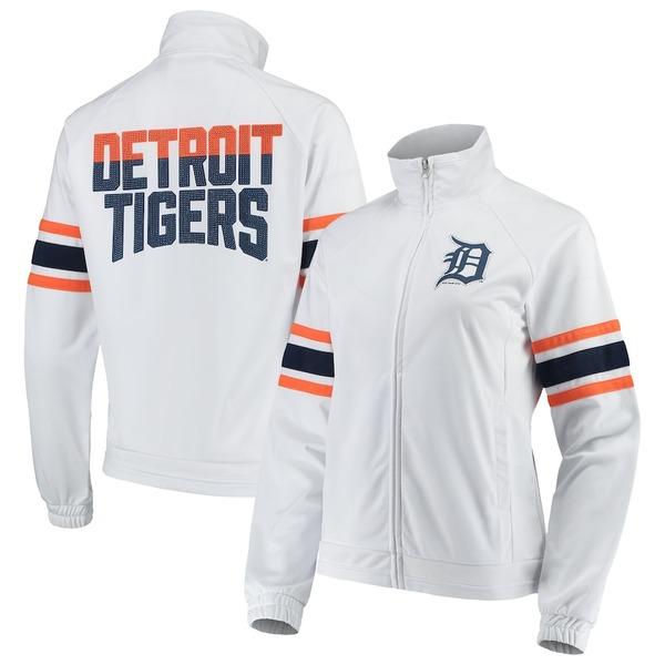 カールバンクス レディース ジャケット&ブルゾン アウター Detroit Tigers G-III 4Her by Carl Banks Women's Game Score Full-Zip Track Jacket White