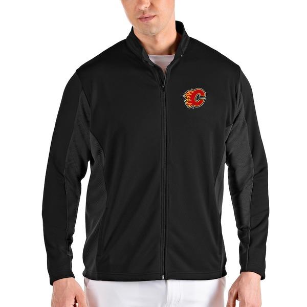 アンティグア メンズ ジャケット&ブルゾン アウター Calgary Flames Antigua Passage Full-Zip Jacket Black/Gray