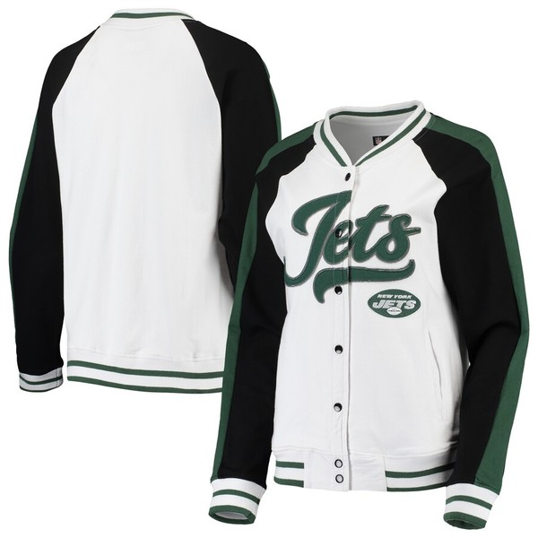 ニューエラ レディース ジャケット&ブルゾン アウター New York Jets New Era Women's Varsity Full Snap Jacket White/Green