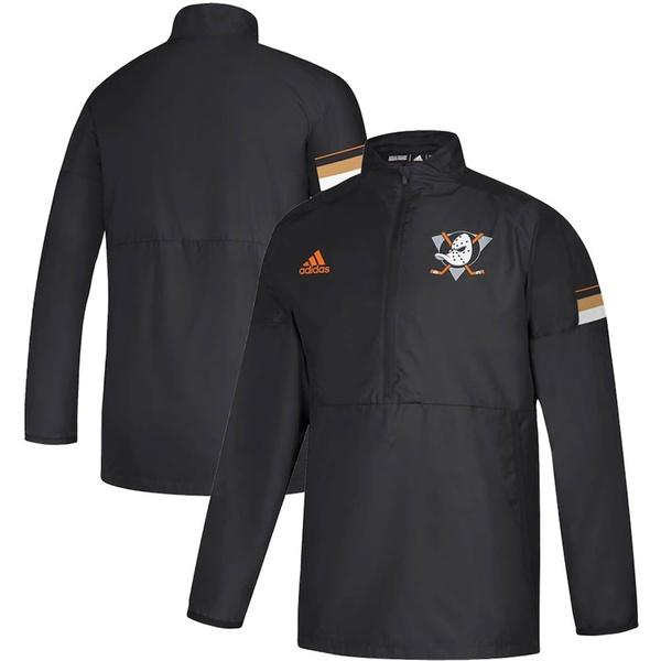 アディダス メンズ ジャケット&ブルゾン アウター Anaheim Ducks adidas Game Mode Quarter-Zip Pullover Jacket Black