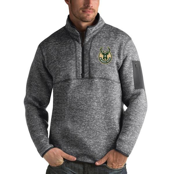 アンティグア メンズ ジャケット&ブルゾン アウター Milwaukee Bucks Antigua Fortune 1/2-Zip Pullover Jacket Heathered Black