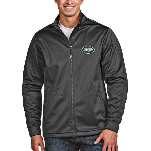 アンティグア メンズ ジャケット&ブルゾン アウター New York Jets Antigua Full-Zip Golf Jacket Heather Charcoal
